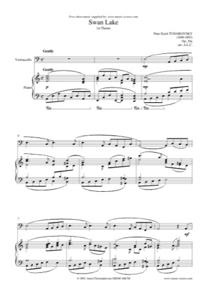 1st Theme from Swan Lake Op  20a - Cello and Piano by