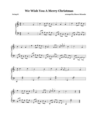 Thumbnail of first page of We Wish You A Merry Christmas (Jazzy) piano sheet music PDF by Christmas Carol.