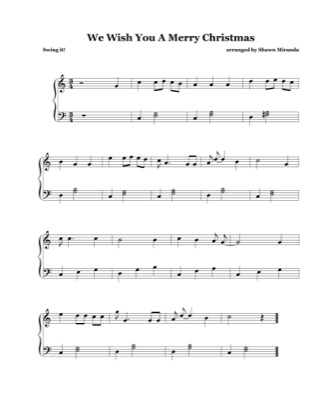 Thumbnail of first page of We Wish You A Merry Christmas (3) piano sheet music PDF by Christmas Carol.