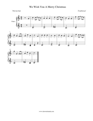 Thumbnail of first page of We Wish You A Merry Christmas piano sheet music PDF by Christmas Carol.