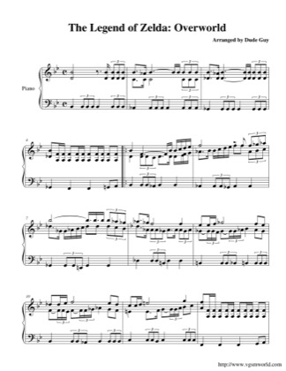 Thumbnail of first page of Overworld piano sheet music PDF by The Legend of Zelda.