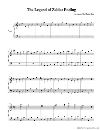 Thumbnail of first page of Ending piano sheet music PDF by The Legend of Zelda.