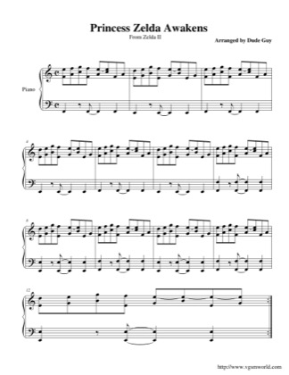 Thumbnail of first page of Zelda Awakens piano sheet music PDF by The Legend of Zelda: The Adventure of Link.
