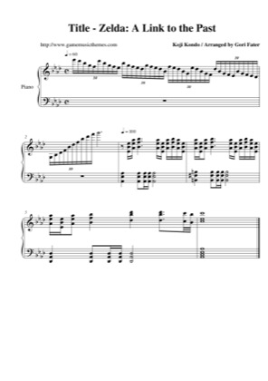 Thumbnail of first page of Title piano sheet music PDF by The Legend of Zelda: A Link to the Past.