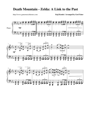 Thumbnail of first page of Death Mountain piano sheet music PDF by The Legend of Zelda: A Link to the Past.