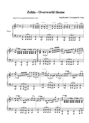 Thumbnail of first page of Overworld piano sheet music PDF by The Legend of Zelda: A Link to the Past.