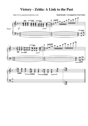 Thumbnail of first page of Victory piano sheet music PDF by The Legend of Zelda: A Link to the Past.