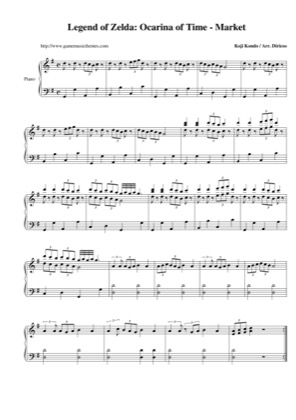 Thumbnail of first page of Market piano sheet music PDF by The Legend of Zelda: Ocarina of Time.