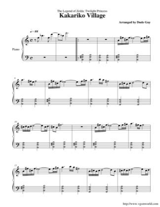 Thumbnail of first page of Kakariko Village piano sheet music PDF by The Legend of Zelda: Twilight Princess.
