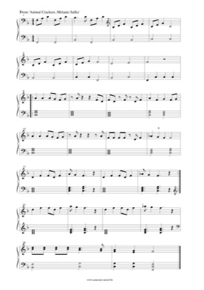 Thumbnail of first page of Animal Crackers piano sheet music PDF by Melanie Safka.