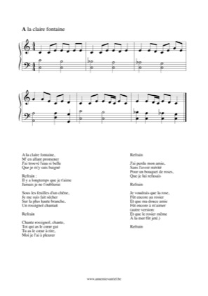 Thumbnail of first page of A la claire fontaine piano sheet music PDF by Nana Mouskouri.
