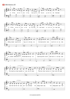 Thumbnail of first page of Alle Kleuren piano sheet music PDF by K3.