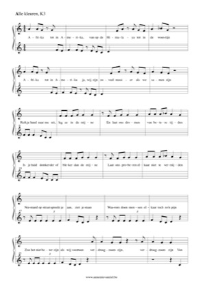 Thumbnail of first page of Alle Kleuren (Solo) piano sheet music PDF by K4.