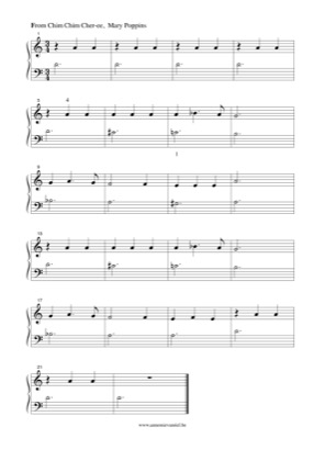 Thumbnail of first page of Chim Chim Cher-ee piano sheet music PDF by Mary Poppins.