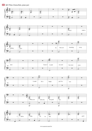 Thumbnail of first page of All I want piano sheet music PDF by Emma Bale.
