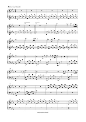 Thumbnail of first page of Primavera piano sheet music PDF by Ludovico Einaudi.