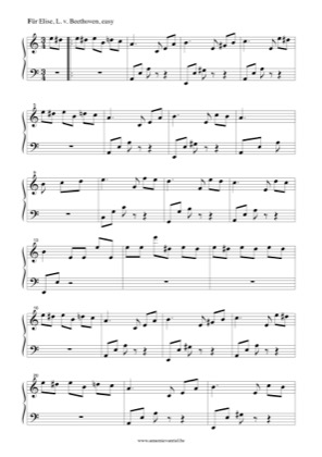 Für Elise (Easy) by Ludwig Van Beethoven Piano Sheet Music