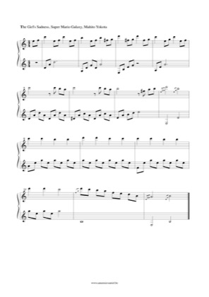 Thumbnail of first page of The Girl's Sadness (Super Mario Galaxy) piano sheet music PDF by Super Mario.