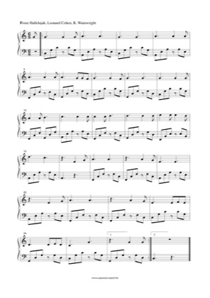 Thumbnail of first page of Hallelujah piano sheet music PDF by Leonard Cohen.
