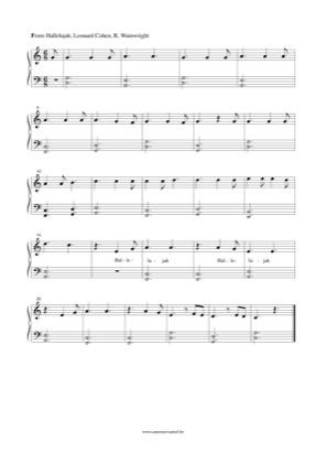 Hallelujah Fifths By Leonard Cohen Piano Sheet Music