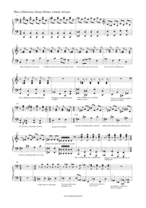 Thumbnail of first page of This Is Halloween (Left) piano sheet music PDF by The Nightmare Before Christmas.