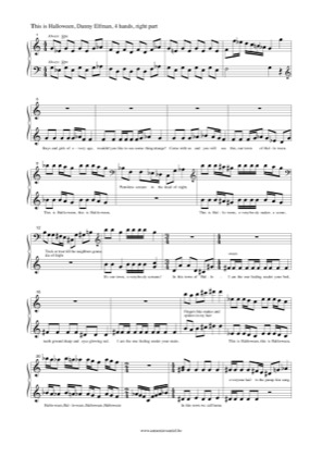 Thumbnail of first page of This Is Halloween (Right) piano sheet music PDF by The Nightmare Before Christmas.