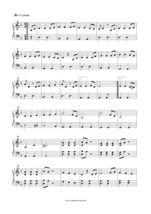 Thumbnail of first page of He is a pirate (Theme song) piano sheet music PDF by Pirates of the Caribbean.