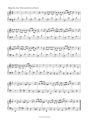 Thumbnail of first page of Heigh Ho piano sheet music PDF by Snow White.