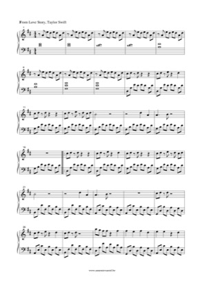 Thumbnail of first page of Love Story (2) piano sheet music PDF by Taylor Swift.