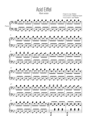 Thumbnail of first page of Acid Eiffel (album) piano sheet music PDF by Choice.
