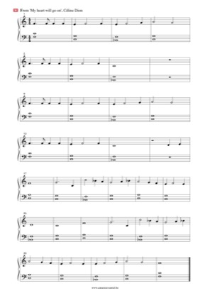 Thumbnail of first page of My Heart Will Go On (Easy) piano sheet music PDF by Céline Dion.