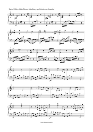 Thumbnail of first page of Out of Africa piano sheet music PDF by Out of Africa.