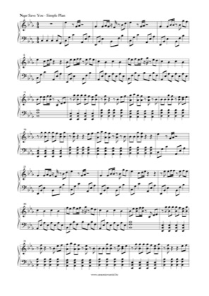 Thumbnail of first page of Naar Save You piano sheet music PDF by Simple Plan.