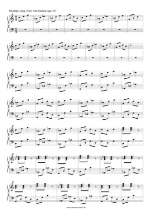 Thumbnail of first page of Swampy song piano sheet music PDF by Niels Van Nueten.
