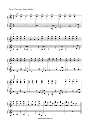 Thumbnail of first page of The Rose (3) piano sheet music PDF by Bette Midler.
