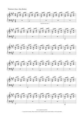 Thumbnail of first page of Vladimir's blues piano sheet music PDF by Max Richter.