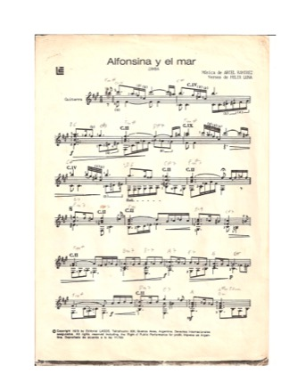 Thumbnail of first page of Alfonsina y El Mar piano sheet music PDF by Ariel Ramirez.