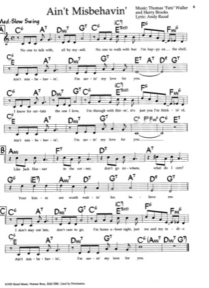 "Thumbnail of first page of Ain't Misbehavin' piano sheet music PDF by Thomas ""Fats"" Waller."