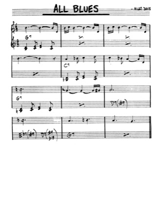 Thumbnail of first page of All Blues piano sheet music PDF by Miles Davis.