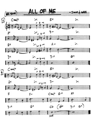 Thumbnail of first page of All of Me piano sheet music PDF by Marks and Simons.