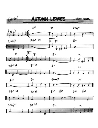Thumbnail of first page of Autumn Leaves piano sheet music PDF by Johnny Mercer.