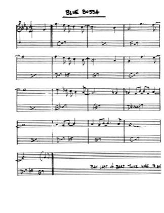 Blue bossa sheet music for clarinet, piano, tenor saxophone, bass.