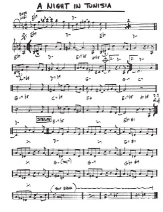 Thumbnail of first page of A Night In Tunisia piano sheet music PDF by Miles Davis.