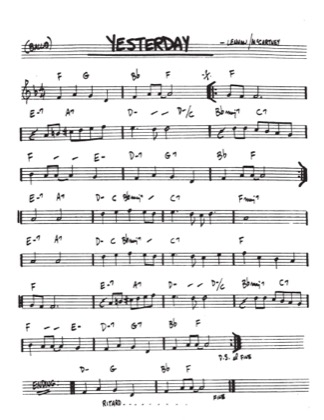 Thumbnail of first page of Yesterday piano sheet music PDF by John Lennon.
