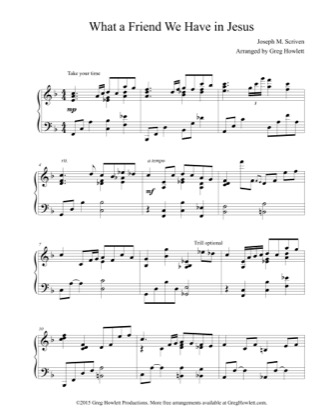 Thumbnail of first page of What a Friend We Have in Jesus (2) piano sheet music PDF by Joseph M. Scriven.