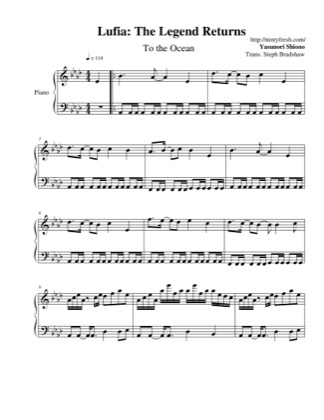 Thumbnail of first page of To The Ocean piano sheet music PDF by Lufia: The Legend Returns.