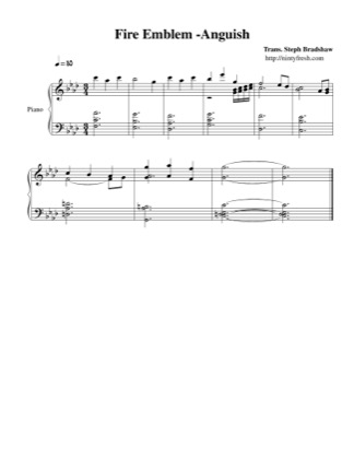 Thumbnail of first page of Anguish piano sheet music PDF by Fire Emblem.