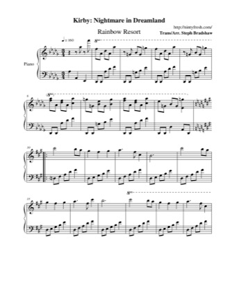 Thumbnail of first page of Rainbow Resort piano sheet music PDF by Kirby: Nightmare in Dreamland.