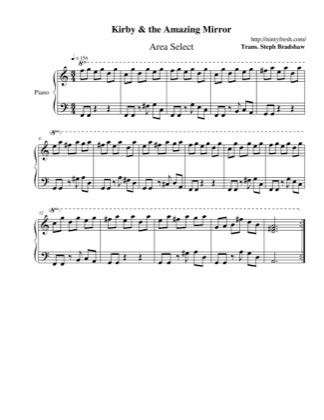 Thumbnail of first page of Area Select piano sheet music PDF by Kirby & The Amazing Mirror.