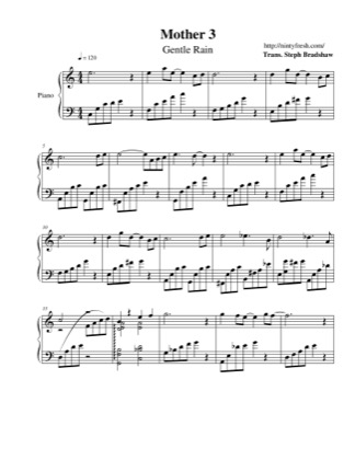 Thumbnail of first page of Gentle Rain piano sheet music PDF by Mother 3.